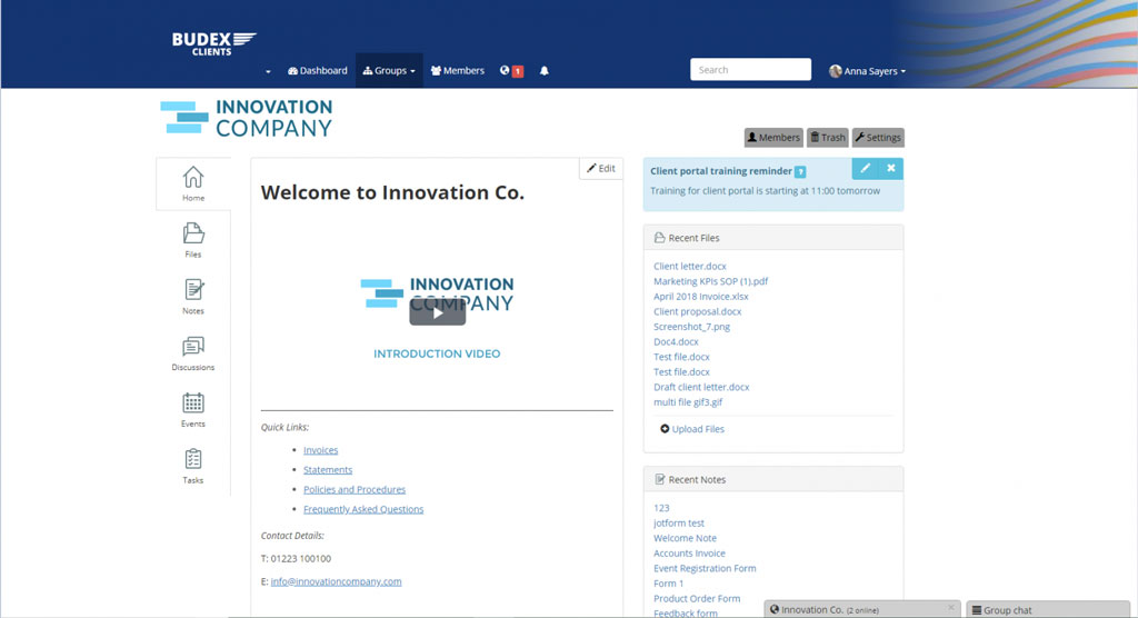 white label solution client portal: screenshot of the custom client portal